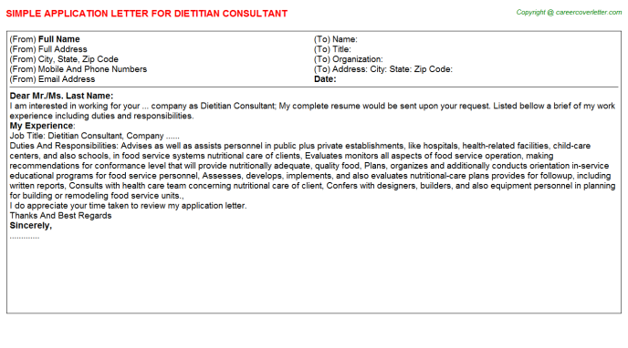 Dietitian Consultant Application Letter Template