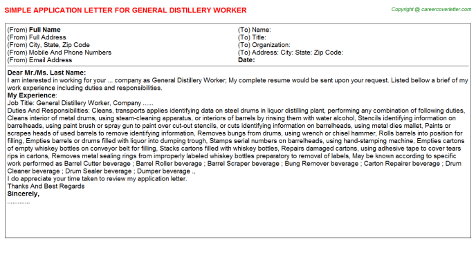 general distillery worker application letter template