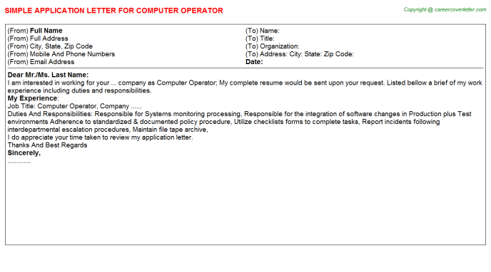Computer Operator Application Letter Template