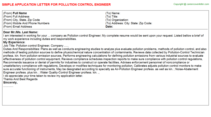 Pollution Control Engineer Application Letters | Application Letters