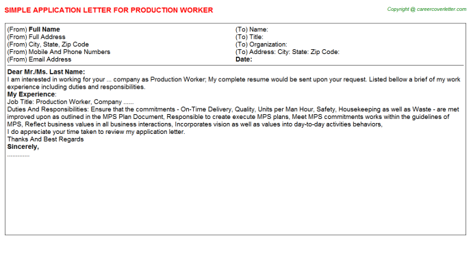 Production Worker Application Letter Template