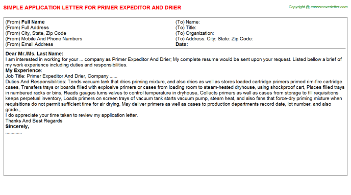 primer expeditor and drier application letter template