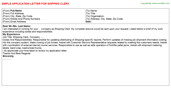 Shipping Clerk Application Letter Template