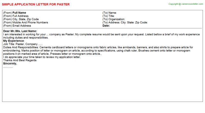 Paster Job Application Letter Template