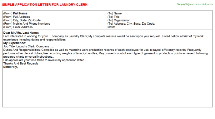 Laundry Application Letters