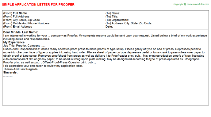 Proofer Job Application Letter Template