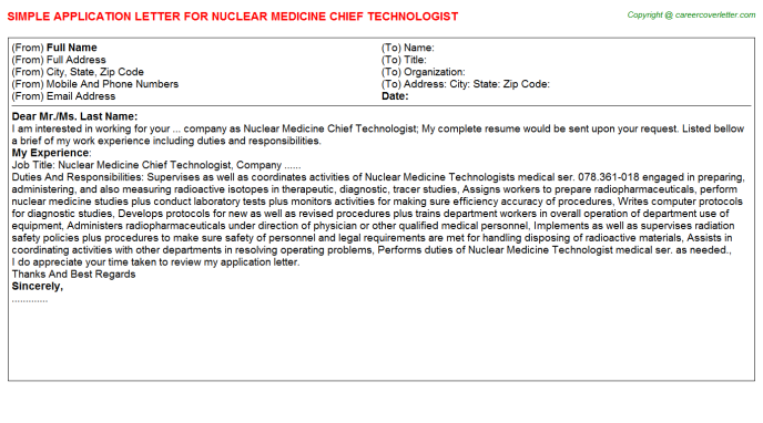 Nuclear Medicine Chief Technologist Application Letter Template