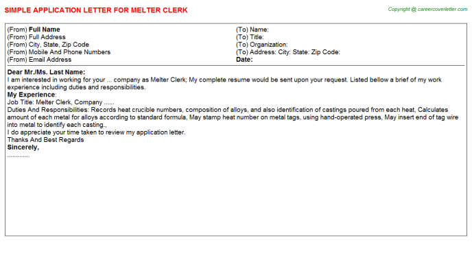 Melter Clerk Application Letter Template