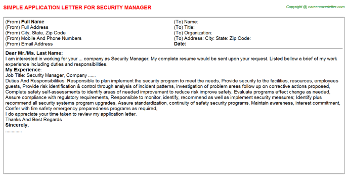 Security Manager Job Application Letter Template