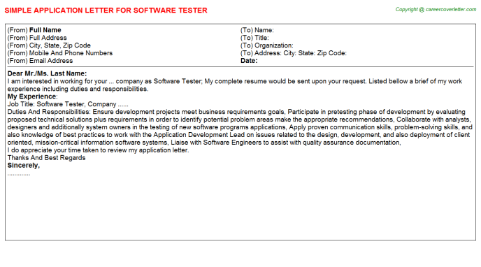 Software Tester Application Letter Template