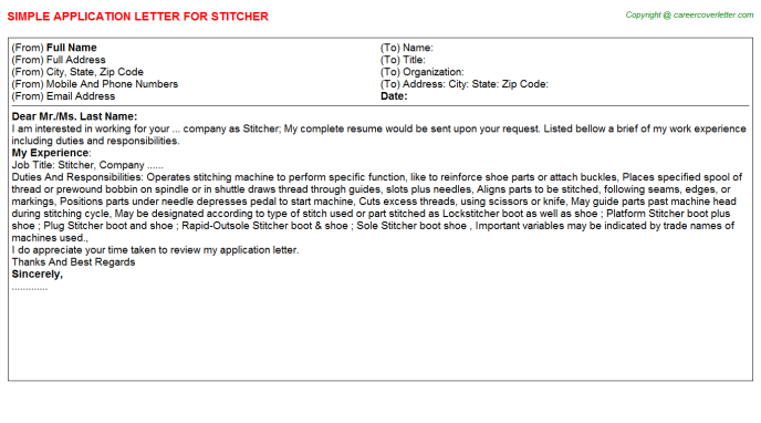 Stitcher Application Letter Template