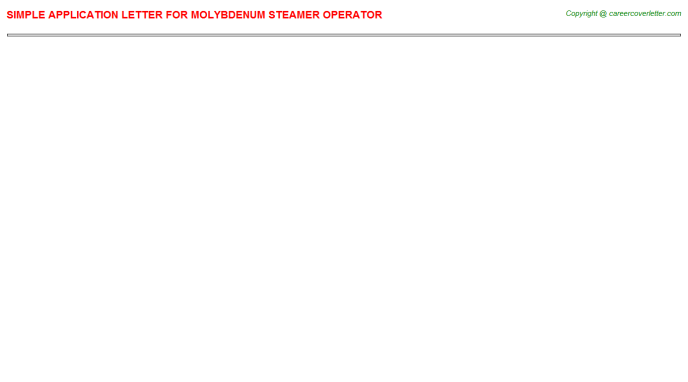 molybdenum steamer operator application letter template