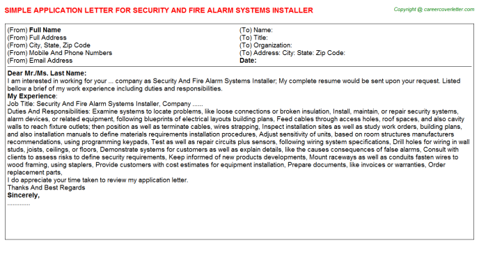 Security And Fire Alarm Systems Installer Job Application Letter