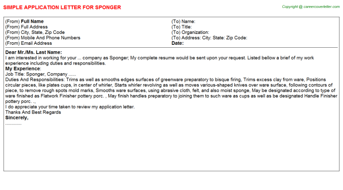 Sponger Job Application Letter Template