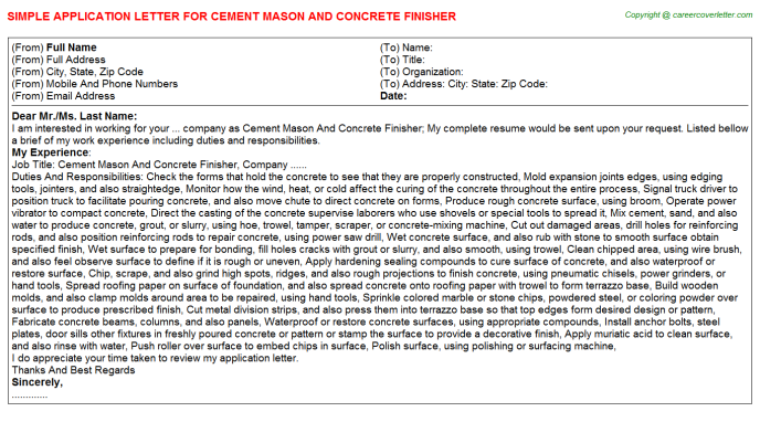 cement mason and concrete finisher job template examples