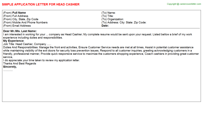 Head Cashier Application Letter Template