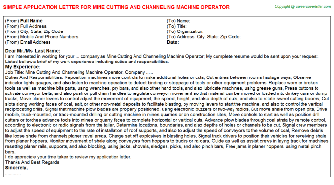 Mine Cutting And Channeling Machine Operator Application Letter Template
