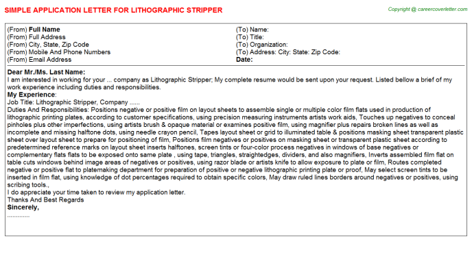 lithographic stripper job application letter