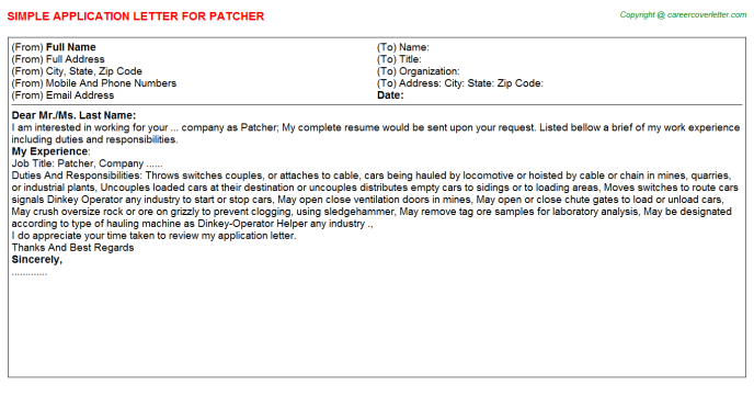 Patcher Application Letter Template