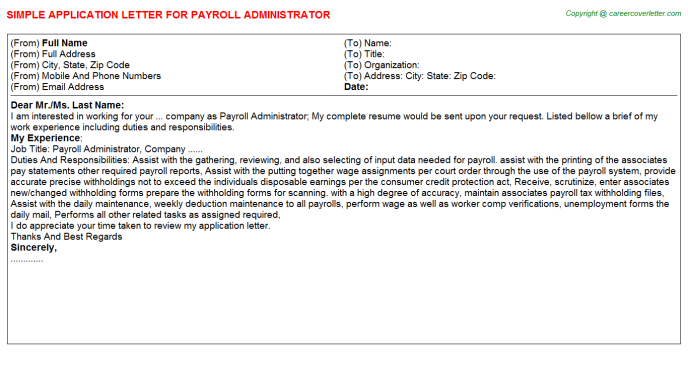 Payroll Administrator Job Application Letter Template