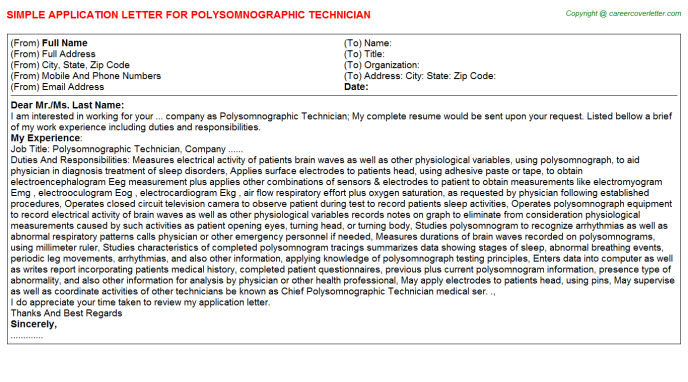 Polysomnographic Technician Application Letters
