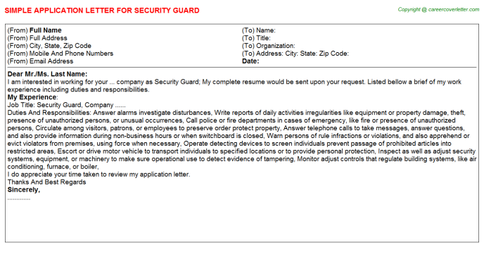 Security Guard Application Letter Template