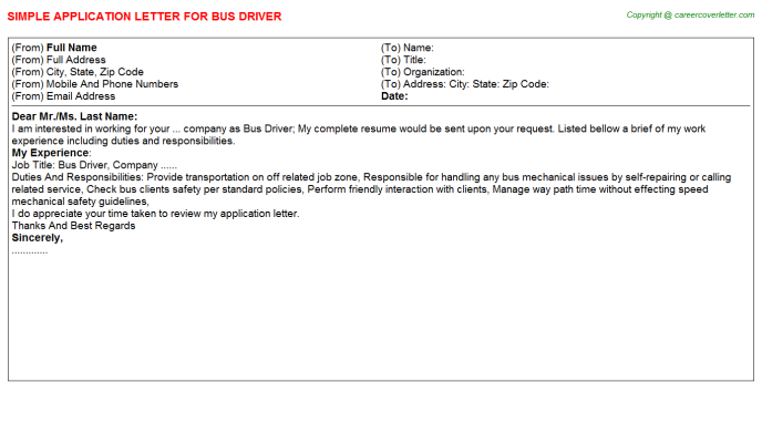 Bus Driver Application Letter Template