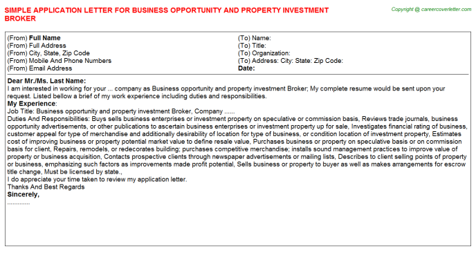 Business Opportunity And Property Investment Broker Application ...