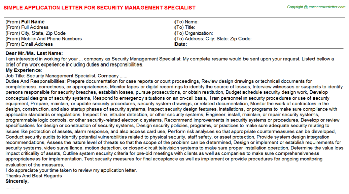 Security Management Specialist Application Letter Template