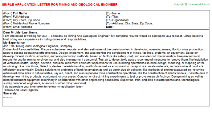 Mining And Geological Engineer Application Letter Template