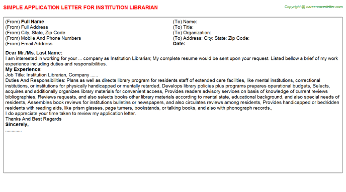 Institution Librarian Application Letter Template