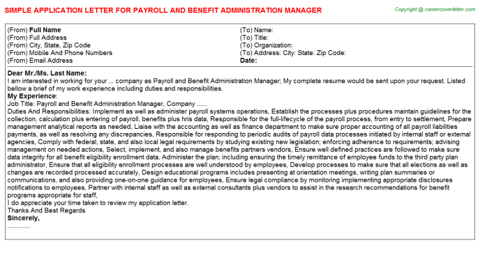 Payroll And Benefit Administration Manager Job Application Letter Template