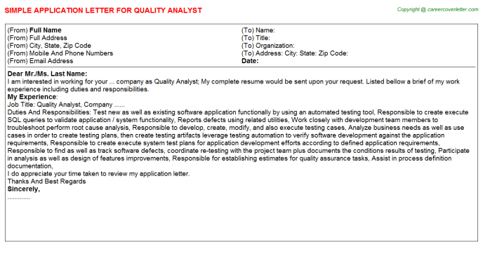 Quality Analyst Application Letter Template