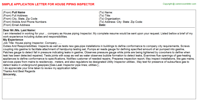House Piping Inspector Application Letters