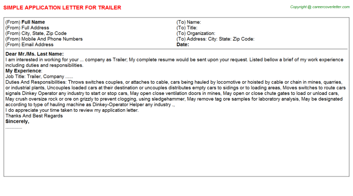 Trailer Application Letter Template