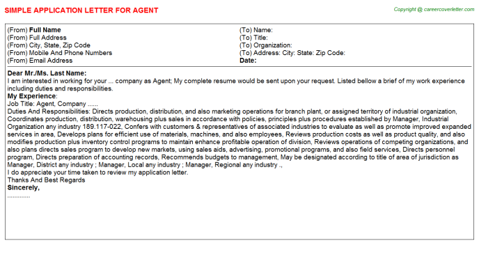 Agent Job Application Letter Template