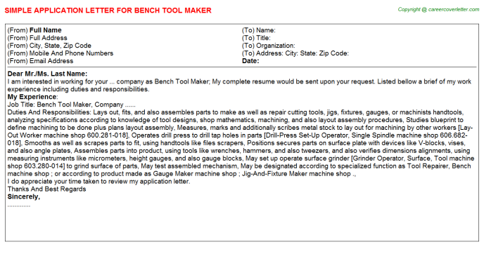 Bench Tool Maker Application Letter Template