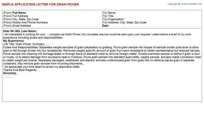 grain picker application letter template