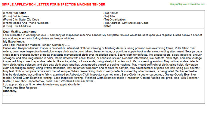 Inspection Machine Tender Job Application Letter | Application Letters