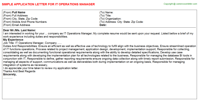 IT Operations Manager Application Letter Template