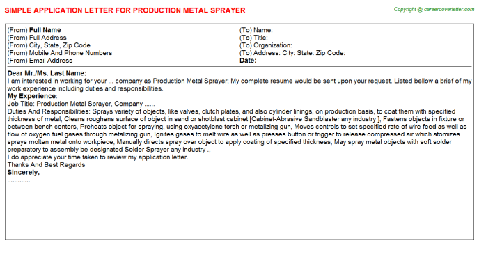 production metal sprayer application letter template