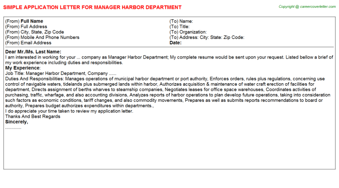Manager Harbor Department Application Letter Template