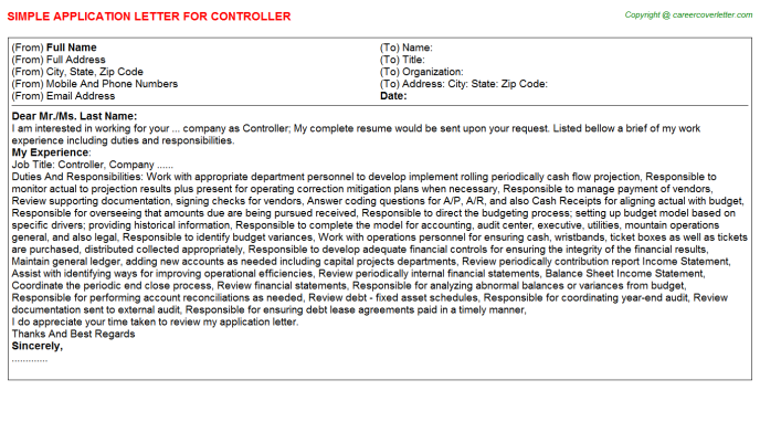 Controller Application Letter Template