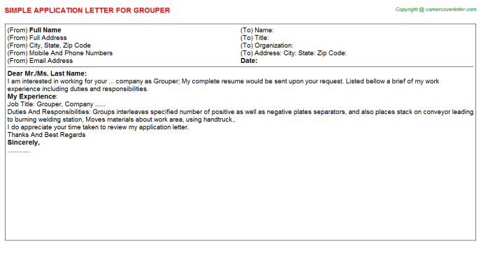 Grouper Application Letter Template