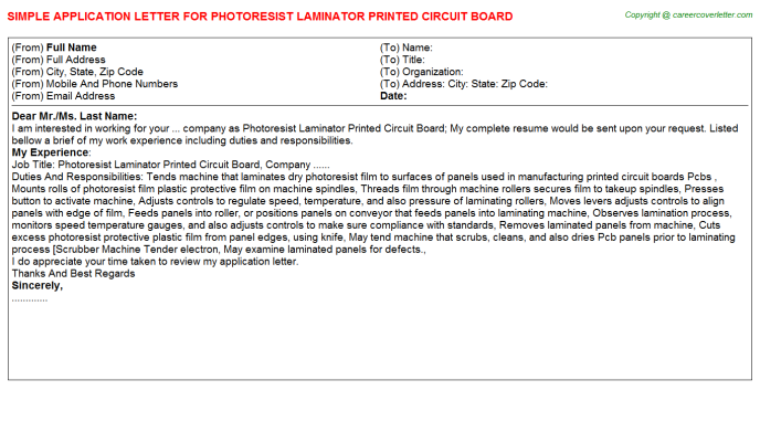 photoresist laminator printed circuit board application letter template