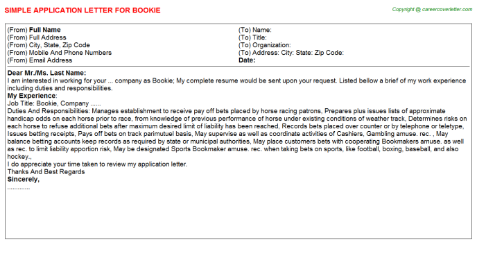 Bookie Job Application Letter Template