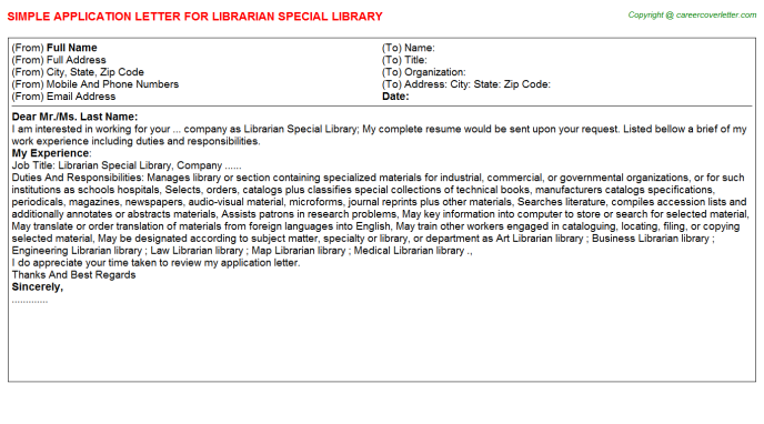 Librarian Special Library Job Application Letter