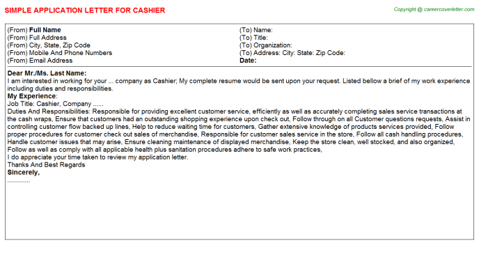 Cashier Application Letter Template
