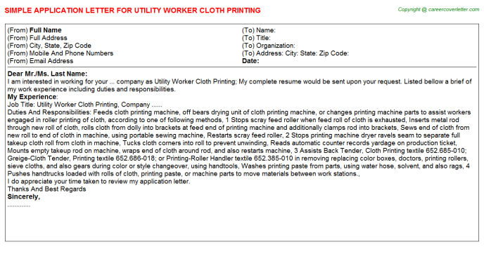 Utility Worker Cloth Printing Job Application Letter Template