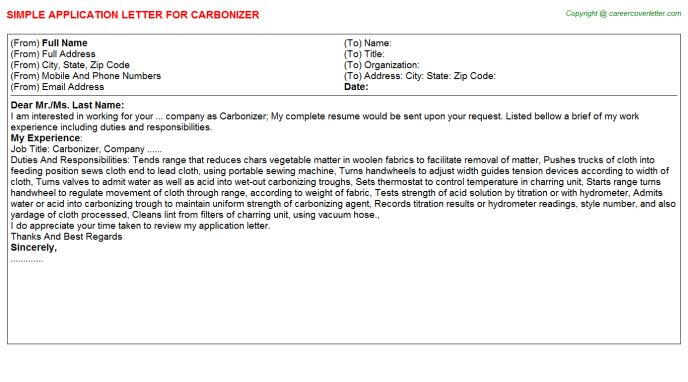 Carbonizer Job Application Letter Template